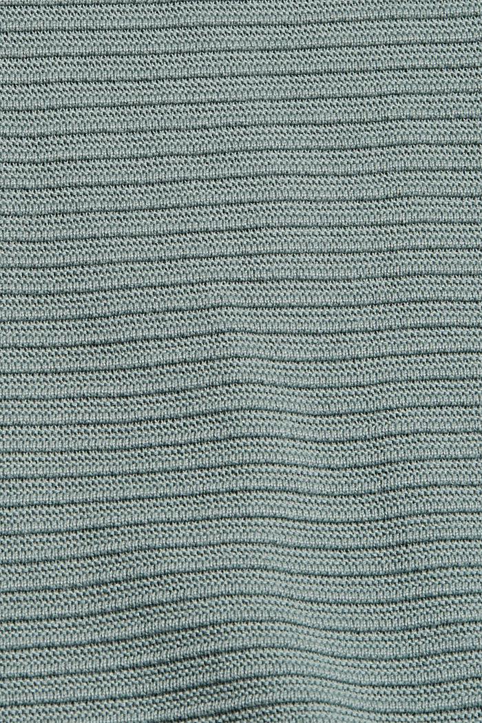 Jumper with a ribbed texture, organic cotton, DUSTY GREEN, detail image number 4