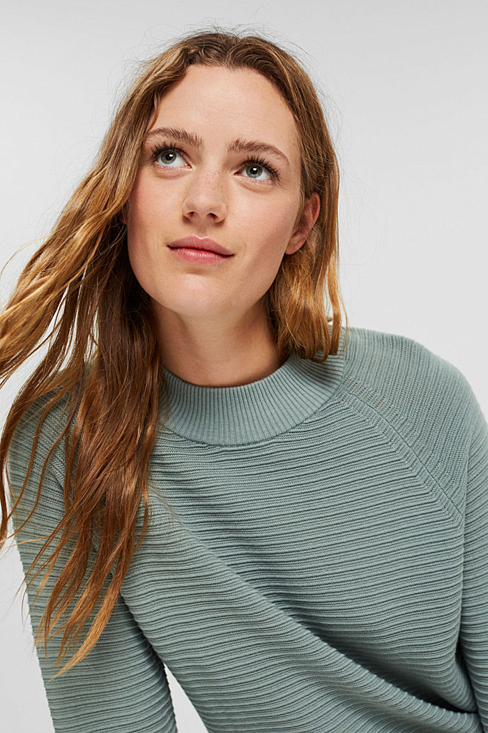 Jumper with a ribbed texture, organic cotton, DUSTY GREEN, detail image number 5