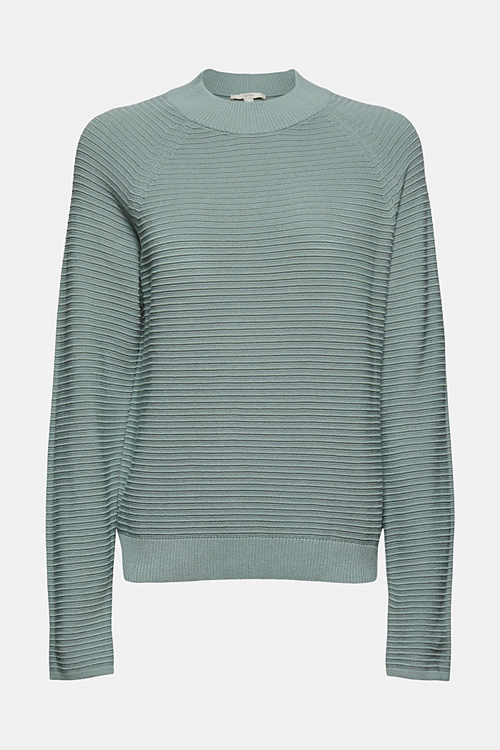 Jumper with a ribbed texture, organic cotton, DUSTY GREEN, detail image number 6