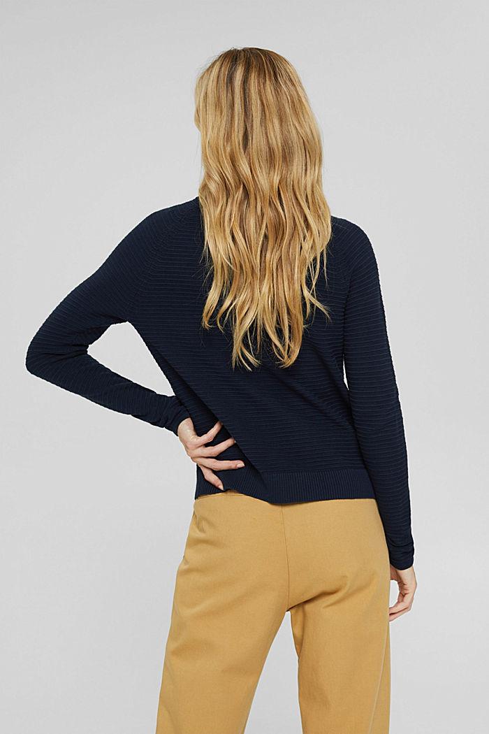 Jersey con textura acanalada, algodón ecológico, NAVY, detail image number 3