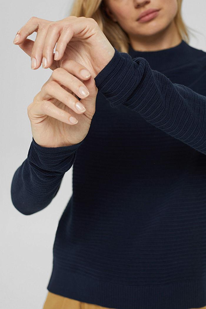 Jersey con textura acanalada, algodón ecológico, NAVY, detail image number 2
