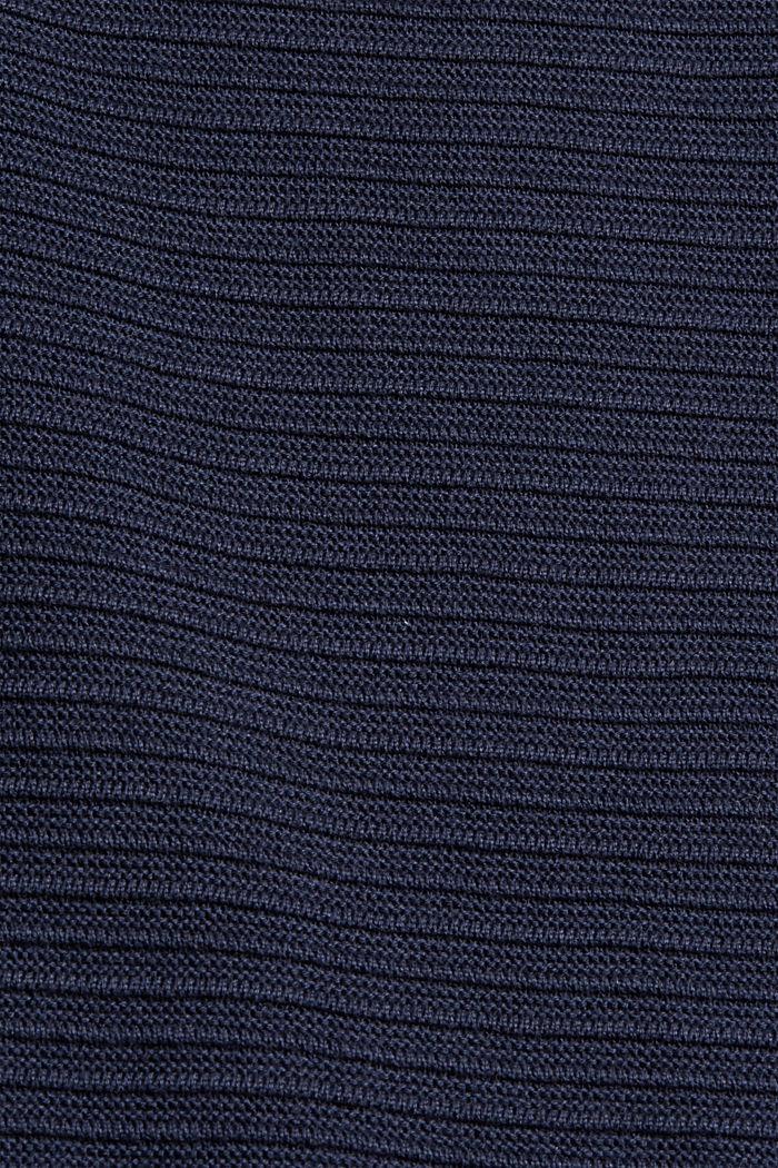 Jersey con textura acanalada, algodón ecológico, NAVY, detail image number 4