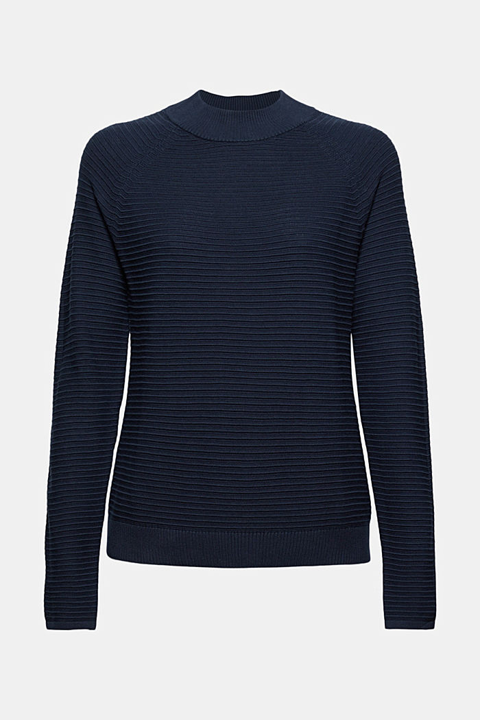 Jersey con textura acanalada, algodón ecológico, NAVY, detail image number 5