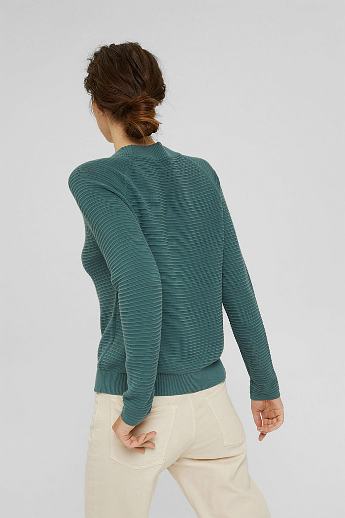 Jersey con textura acanalada, algodón ecológico, TEAL BLUE, detail image number 3