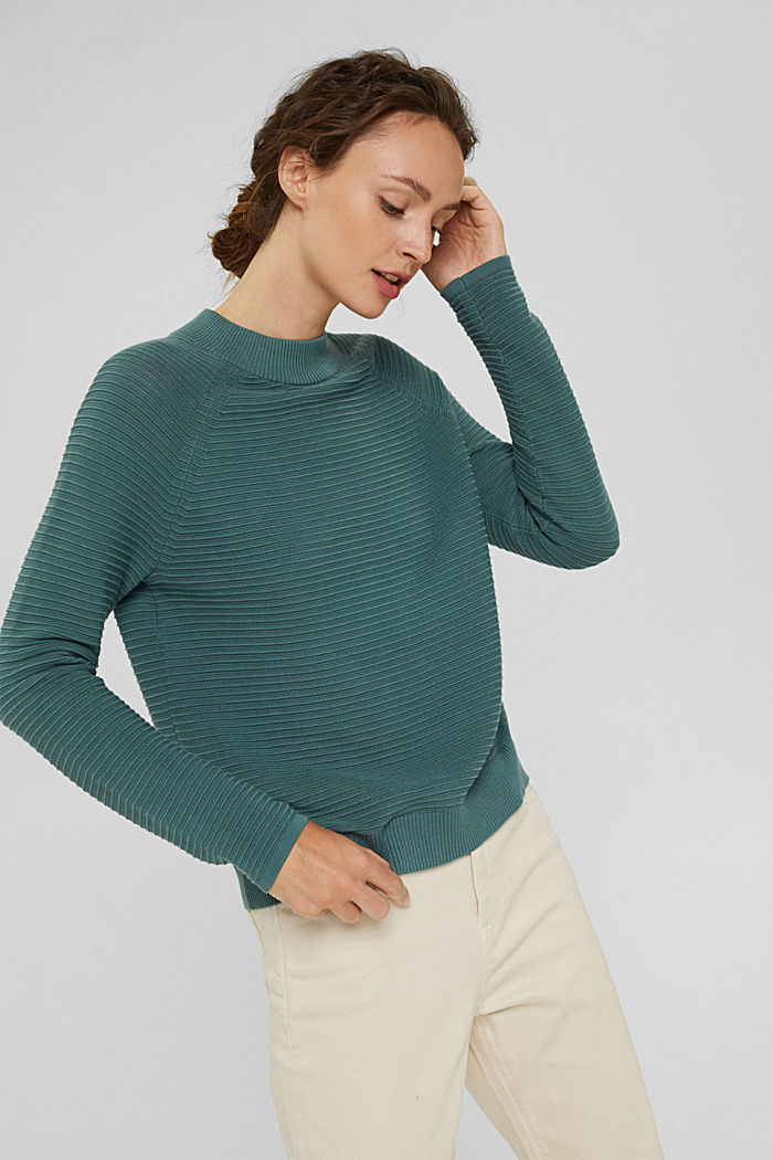 Jersey con textura acanalada, algodón ecológico, TEAL BLUE, detail image number 6