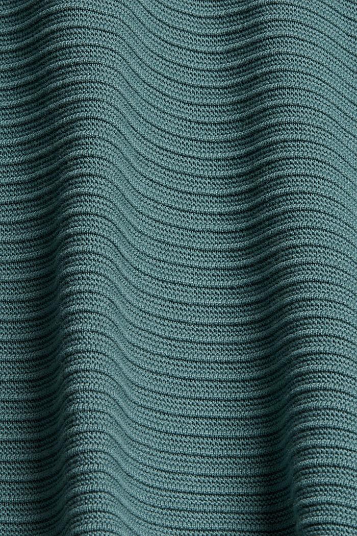 Jersey con textura acanalada, algodón ecológico, TEAL BLUE, detail image number 4