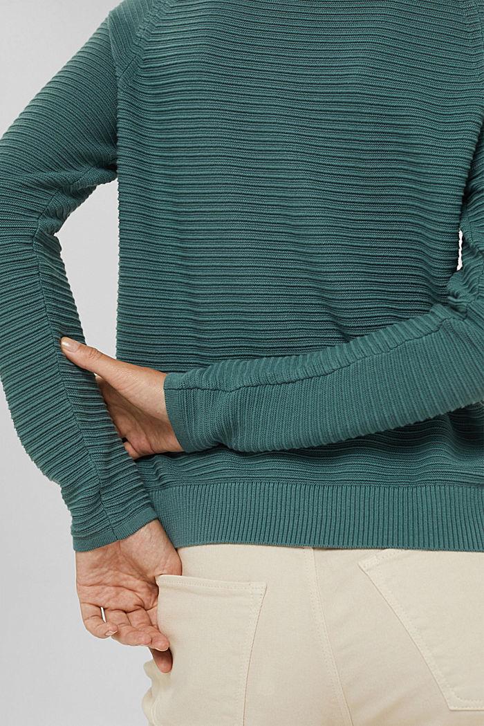 Jersey con textura acanalada, algodón ecológico, TEAL BLUE, detail image number 5