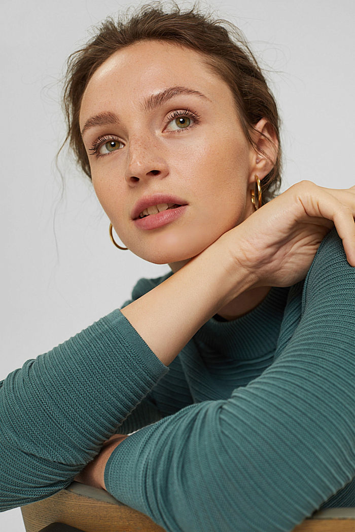 Jersey con textura acanalada, algodón ecológico, TEAL BLUE, detail image number 7