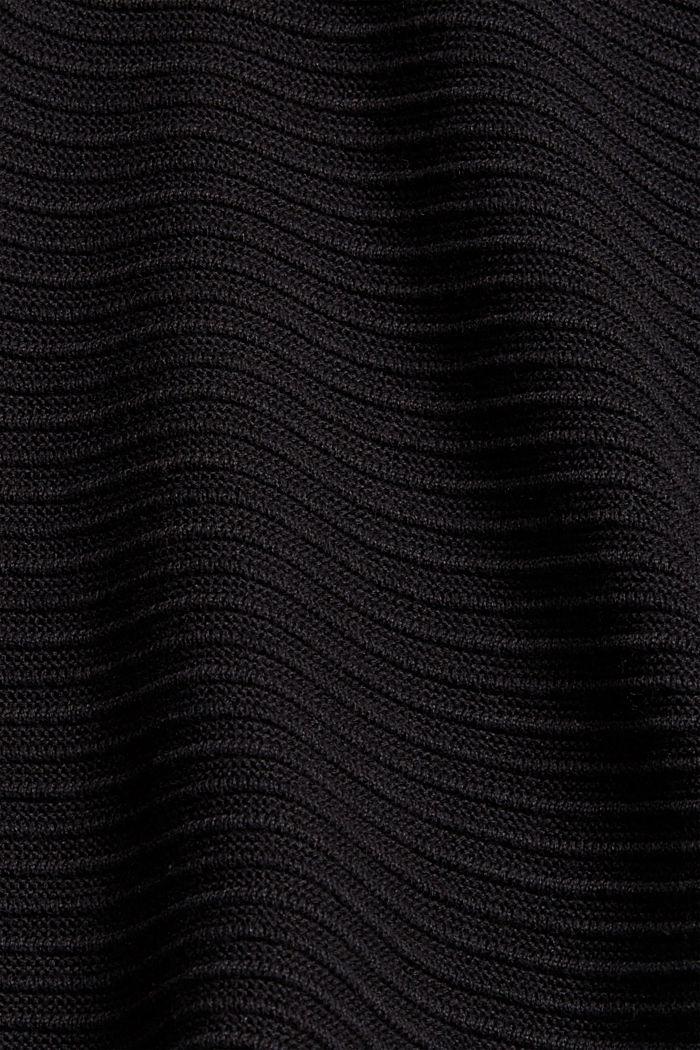 Cárdigan abierto de canalé en 100 % algodón ecológico, BLACK, detail image number 4