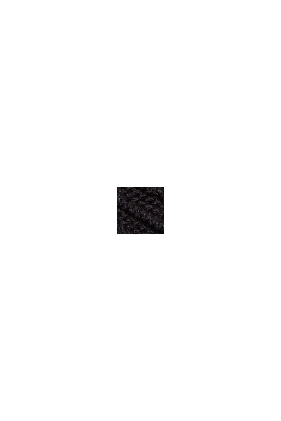 Ribbet cardigan i 100% økobomuld uden lukning, BLACK, swatch