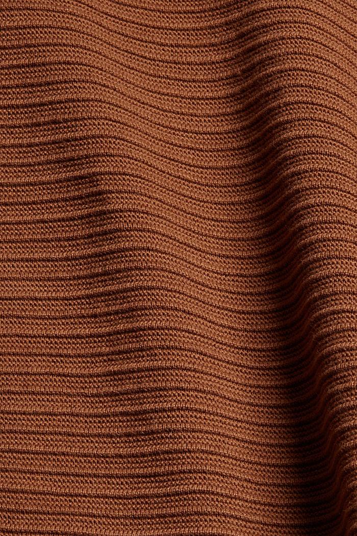 Cardigan ouvert en maille côtelée 100% coton biologique, TOFFEE, detail image number 4