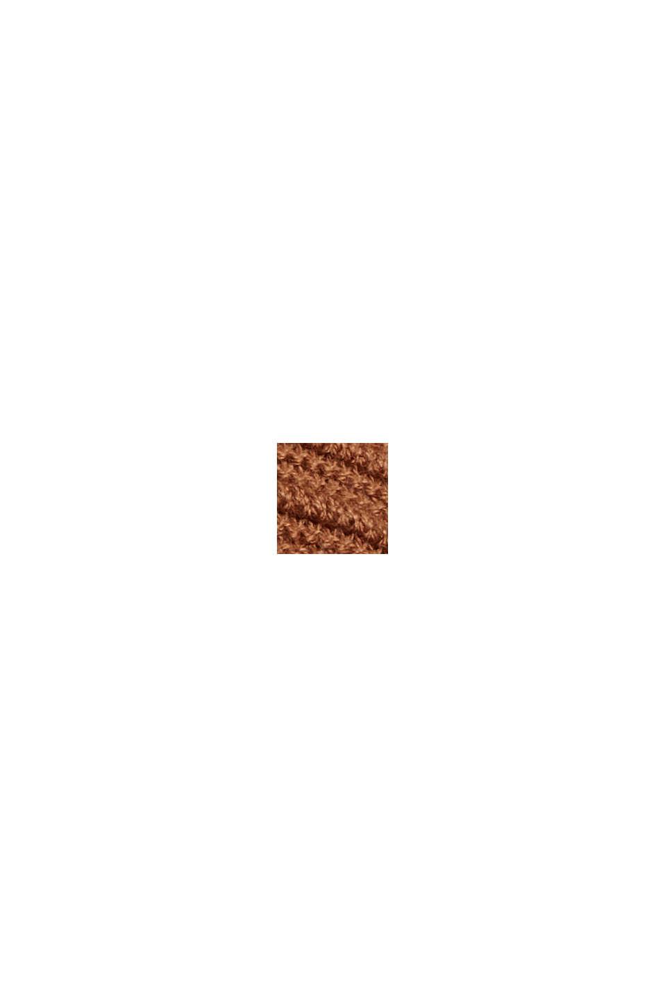 Ribbet cardigan i 100% økobomuld uden lukning, TOFFEE, swatch