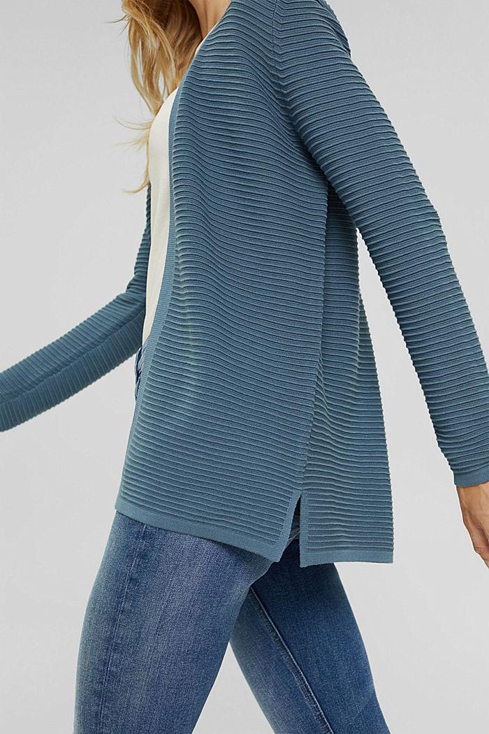 Cárdigan abierto de canalé en 100 % algodón ecológico, GREY BLUE, detail image number 2