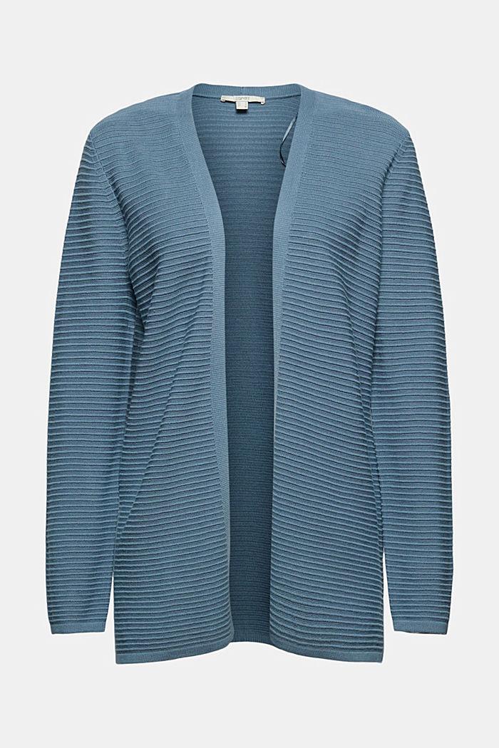 Cárdigan abierto de canalé en 100 % algodón ecológico, GREY BLUE, detail image number 6