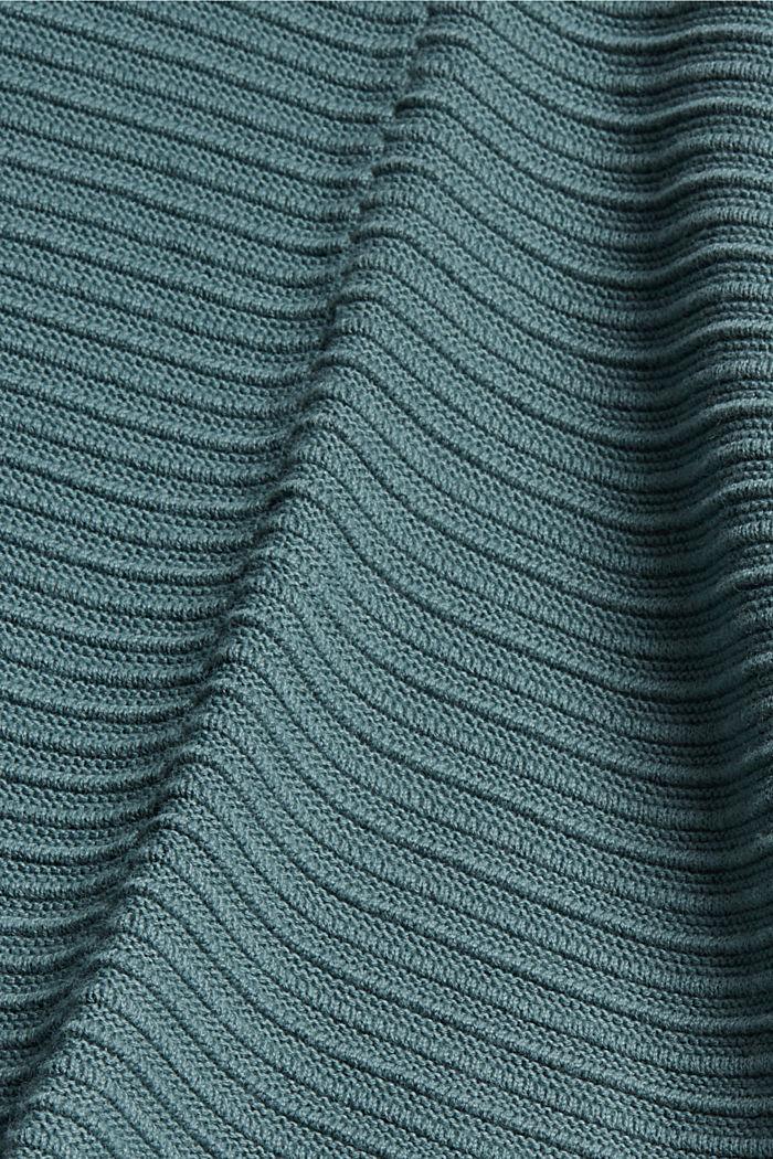 Cárdigan abierto de canalé en 100 % algodón ecológico, TEAL BLUE, detail image number 4