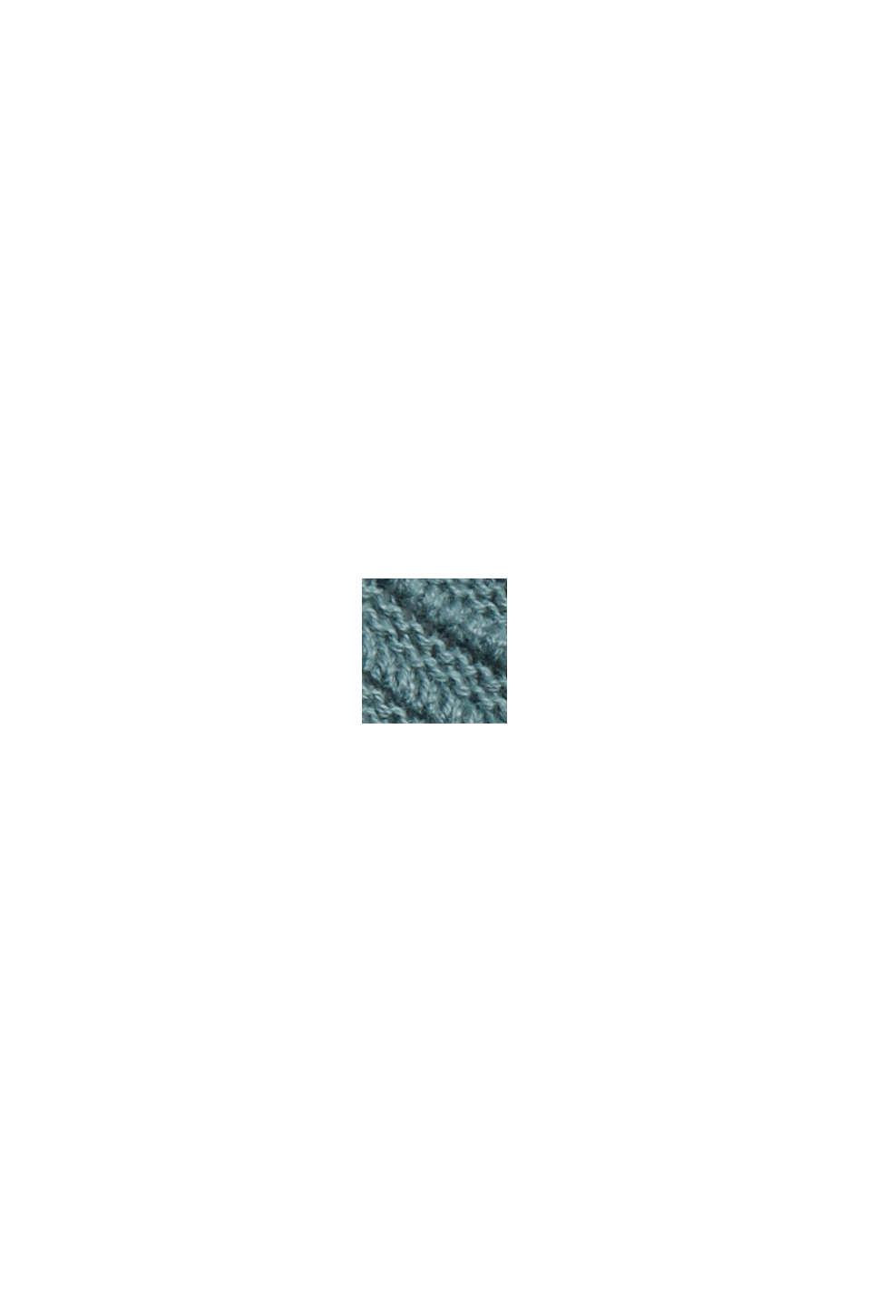 Ribbet cardigan i 100% økobomuld uden lukning, TEAL BLUE, swatch