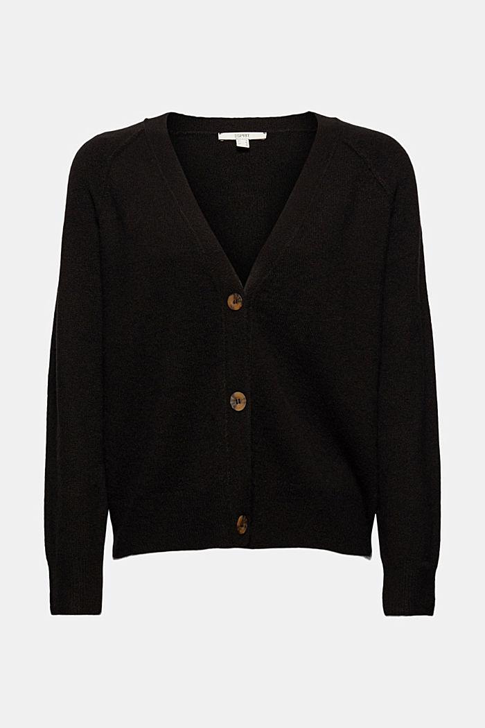Mit Wolle: V-Neck Cardigan, BLACK, detail image number 5