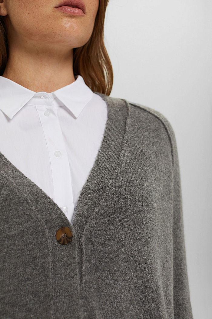 Met wol: vest met V-hals, GUNMETAL, detail image number 2