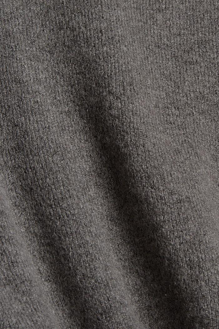 Met wol: vest met V-hals, GUNMETAL, detail image number 4