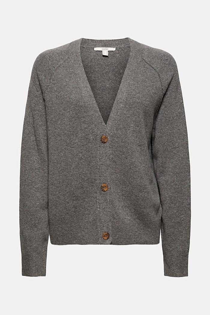 Met wol: vest met V-hals, GUNMETAL, detail image number 5
