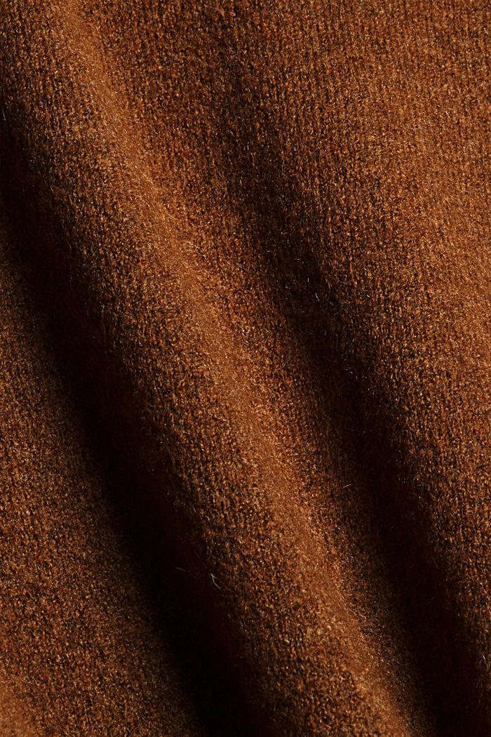 Sisältää villaa: neuletakki V-pääntiellä, TOFFEE, detail image number 4