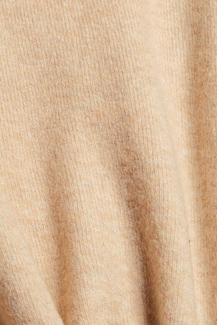Mit Wolle: V-Neck Cardigan, SAND, detail image number 4