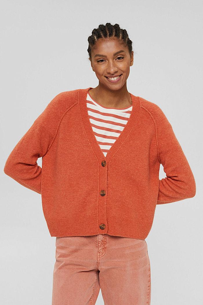 À teneur en laine: cardigan à encolure en V, BLUSH, detail image number 0