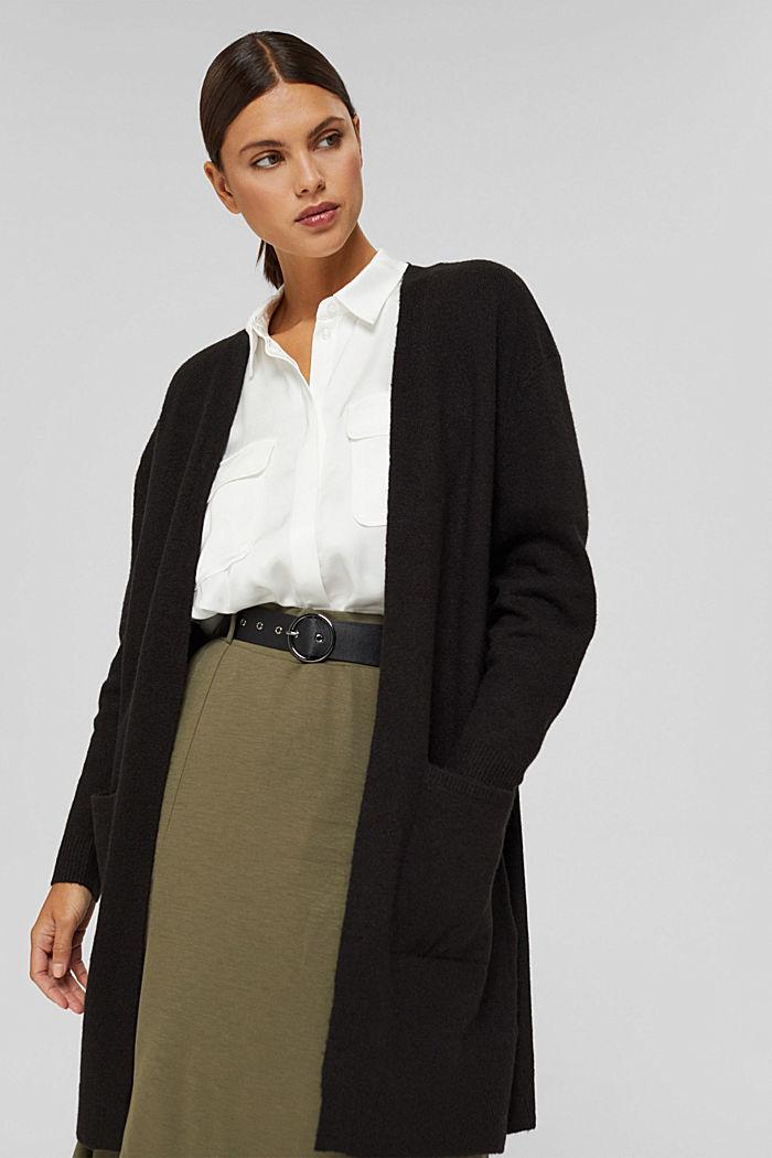 À teneur en laine : le cardigan ouvert de coupe longue, BLACK, detail image number 0