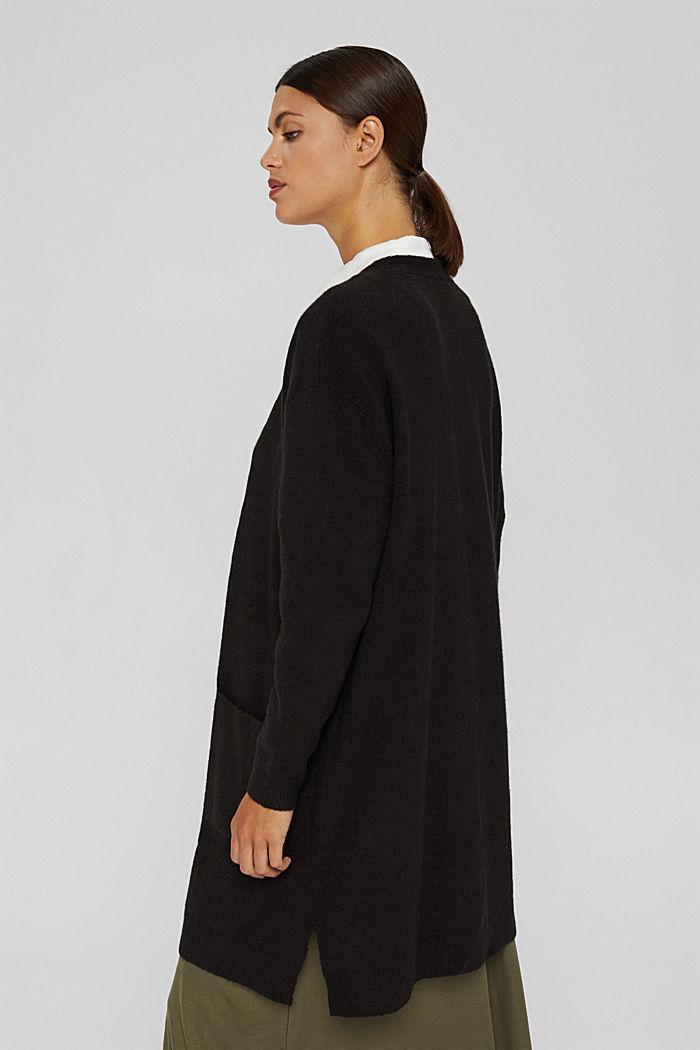 À teneur en laine : le cardigan ouvert de coupe longue, BLACK, detail image number 3
