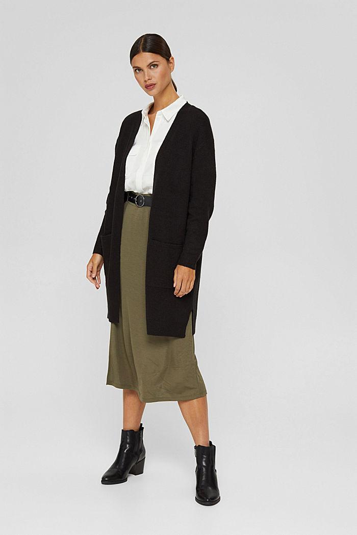 À teneur en laine : le cardigan ouvert de coupe longue, BLACK, detail image number 1