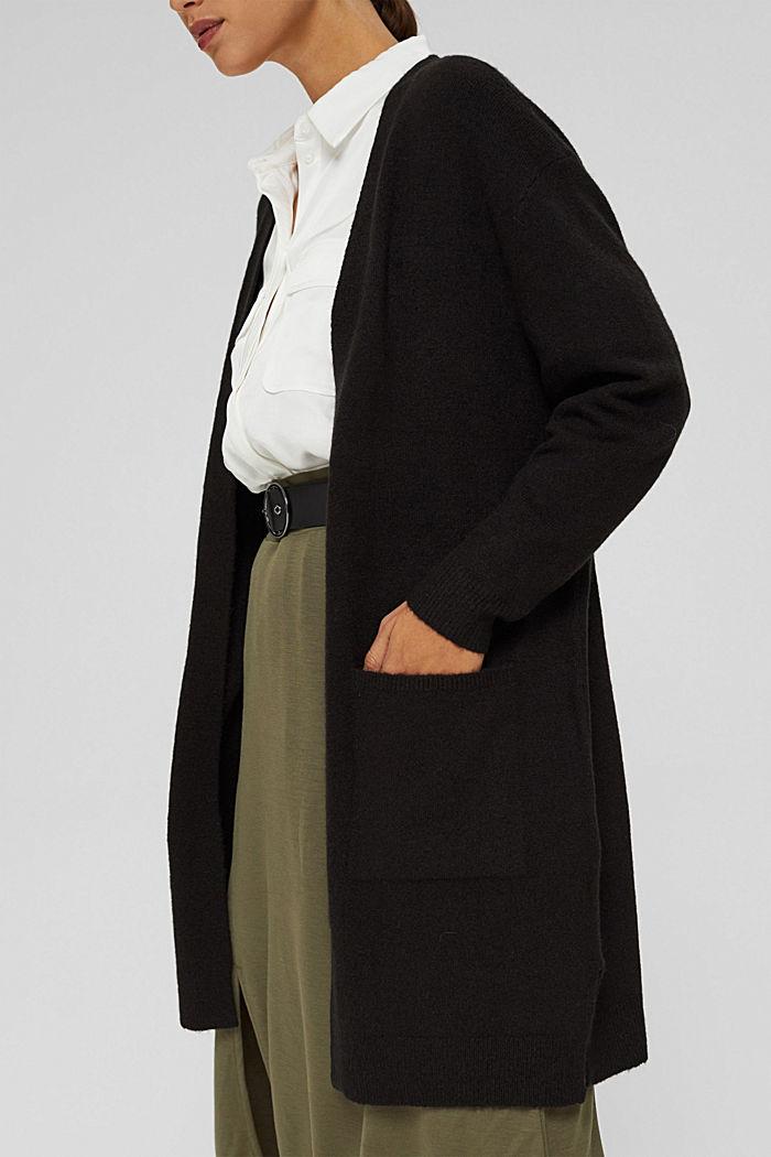 À teneur en laine : le cardigan ouvert de coupe longue, BLACK, detail image number 2