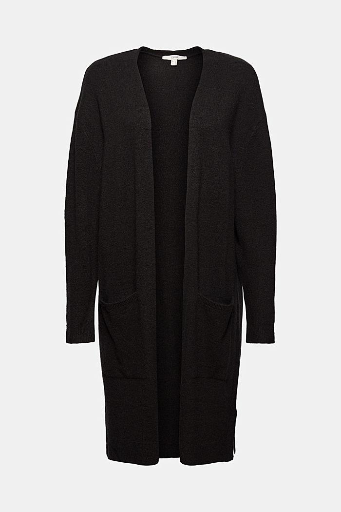 À teneur en laine : le cardigan ouvert de coupe longue, BLACK, detail image number 5