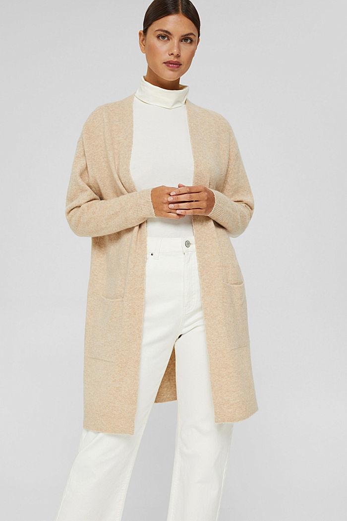 Met wol: open vest met lang model, SAND, detail image number 0