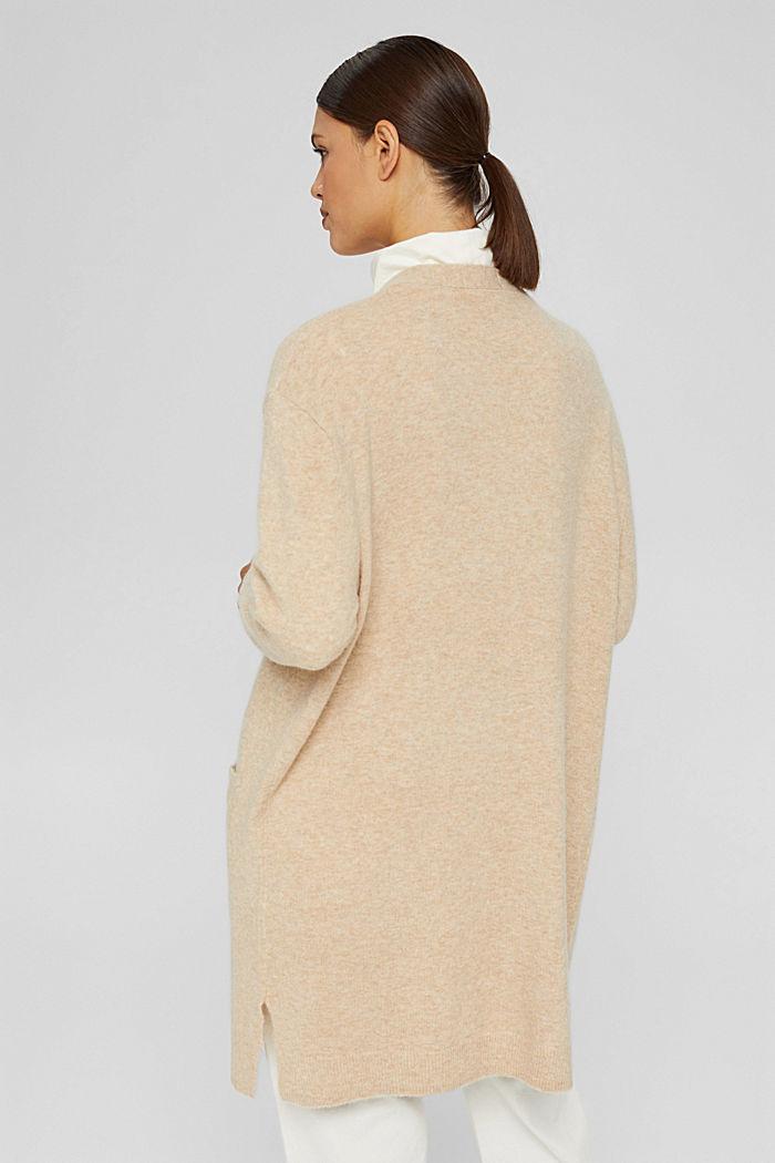 Met wol: open vest met lang model, SAND, detail image number 3