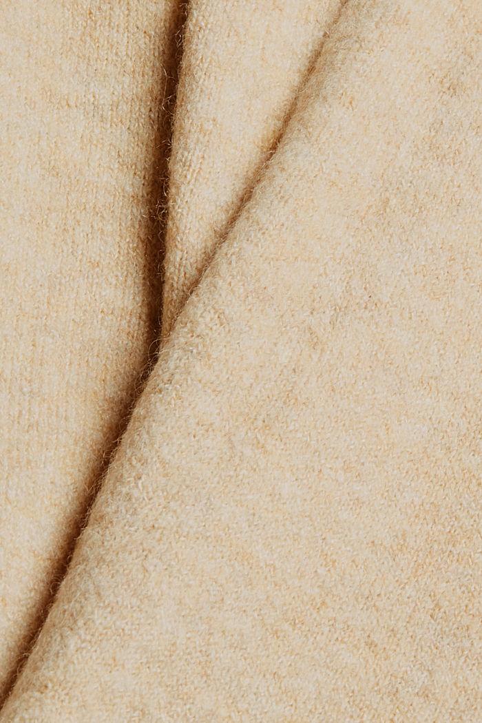 Met wol: open vest met lang model, SAND, detail image number 4