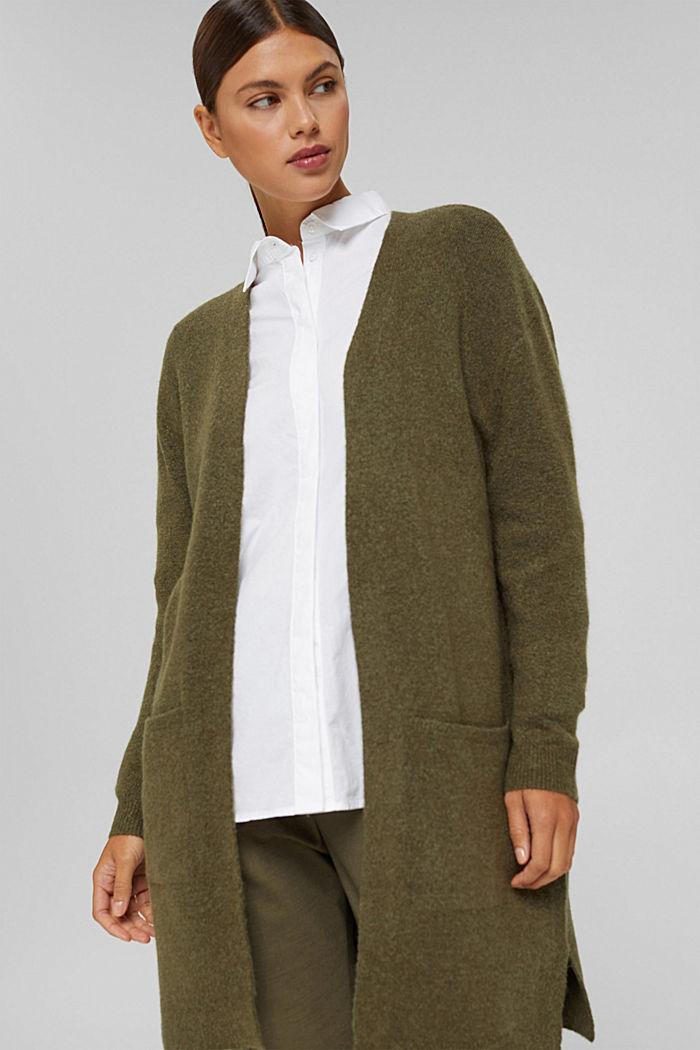 Con lana: cardigan aperto lungo, DARK KHAKI, detail image number 0