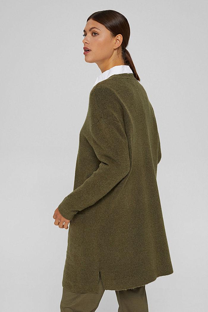 Con lana: cardigan aperto lungo, DARK KHAKI, detail image number 3