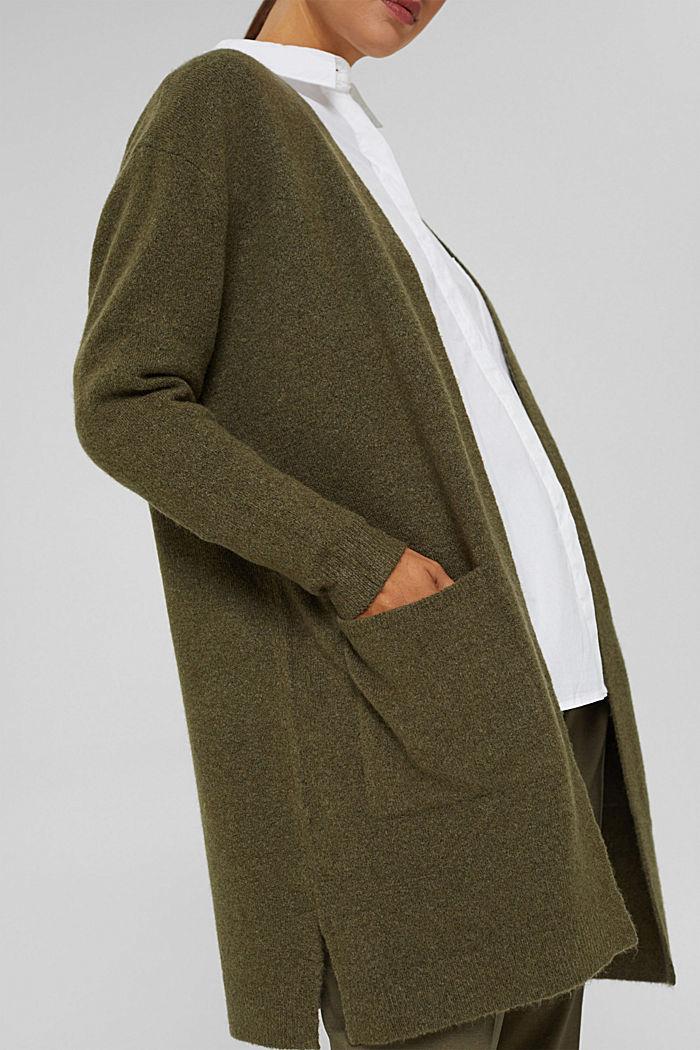 Con lana: cardigan aperto lungo, DARK KHAKI, detail image number 2