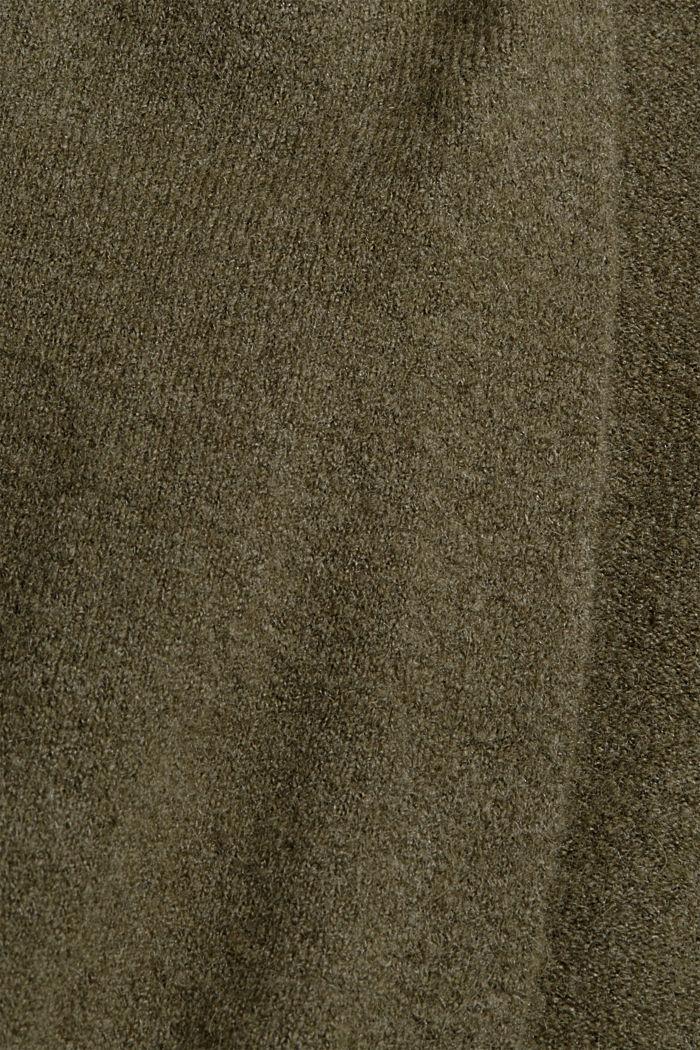 Con lana: cardigan aperto lungo, DARK KHAKI, detail image number 4