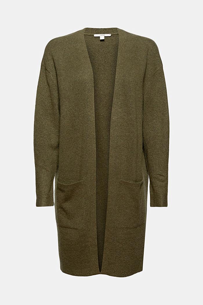 Con lana: cardigan aperto lungo, DARK KHAKI, detail image number 5