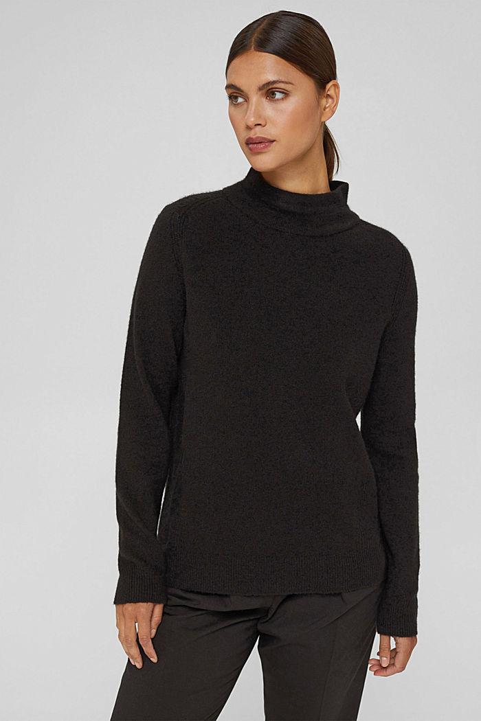 Con lana: pullover con collo a lupetto, BLACK, detail image number 0