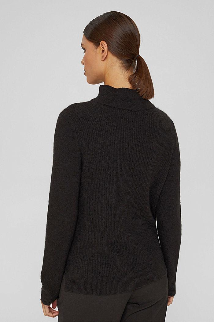 Con lana: pullover con collo a lupetto, BLACK, detail image number 3