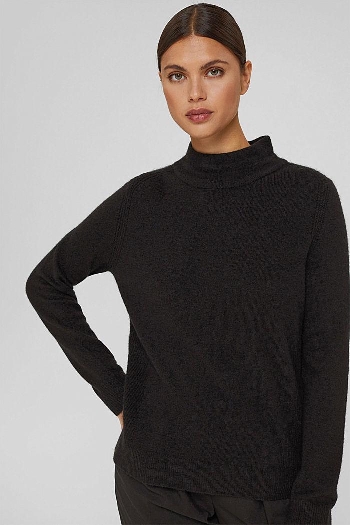 Con lana: pullover con collo a lupetto, BLACK, detail image number 5