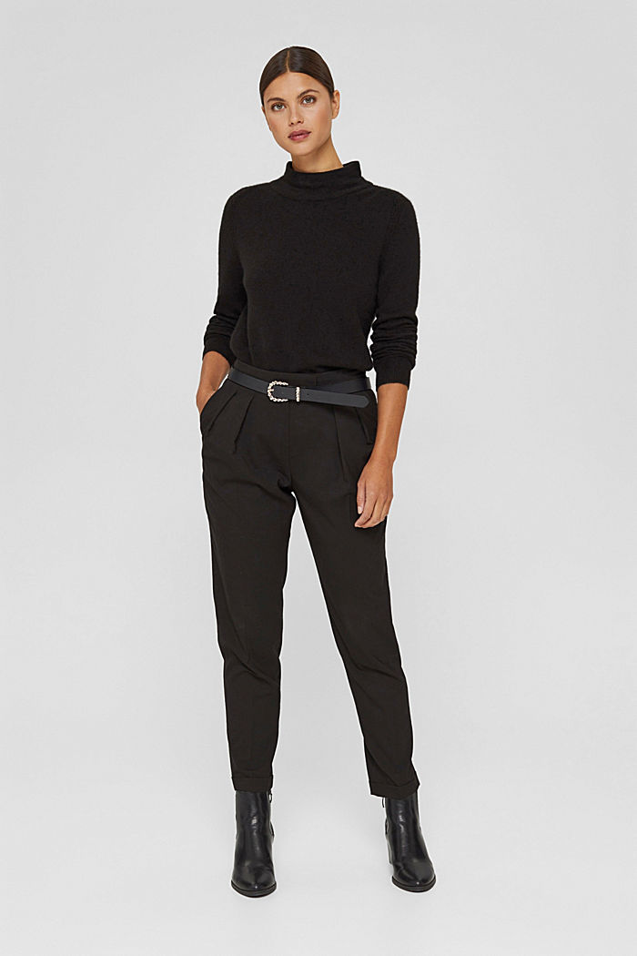 Con lana: pullover con collo a lupetto, BLACK, detail image number 1