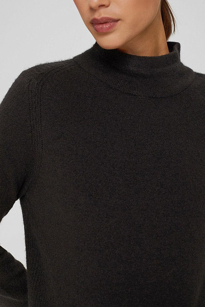 Con lana: pullover con collo a lupetto, BLACK, detail image number 2
