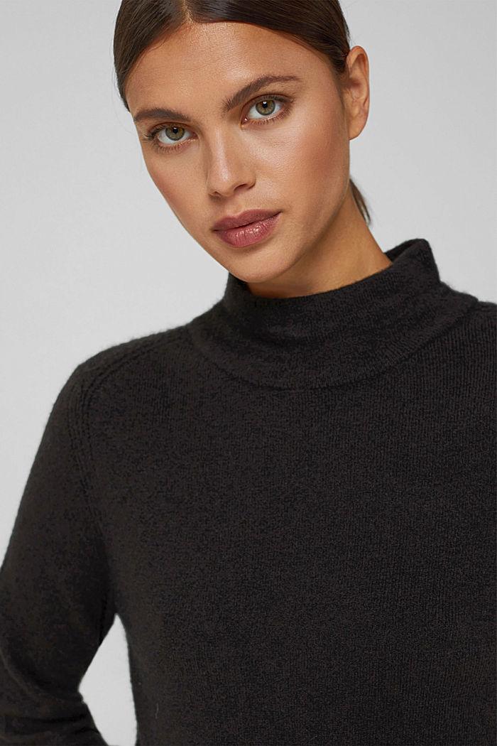 Con lana: pullover con collo a lupetto, BLACK, detail image number 6