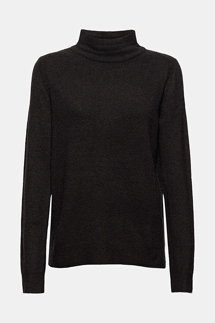 Con lana: pullover con collo a lupetto, BLACK, detail image number 7