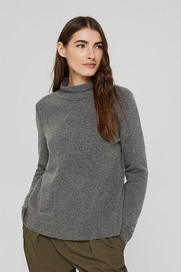 Con lana: pullover con collo a lupetto, GUNMETAL, detail image number 0