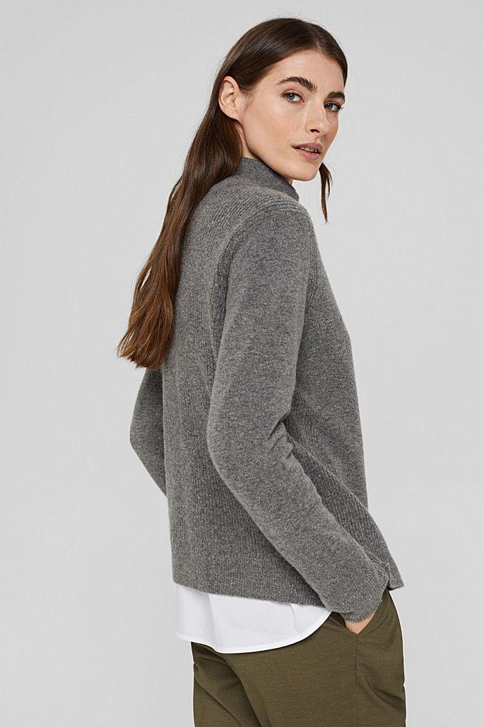 Con lana: pullover con collo a lupetto, GUNMETAL, detail image number 3