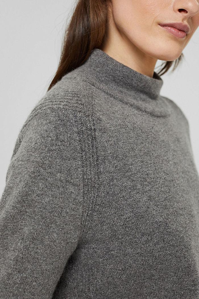 Con lana: pullover con collo a lupetto, GUNMETAL, detail image number 2